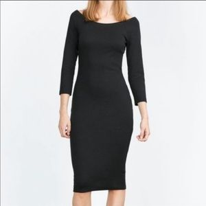 NWT Zara black off shoulder quarter sleeve dress
